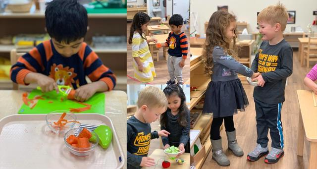 Helping others and working independently at Guidepost Montessori Stonebriar Frisco Texas, Private School