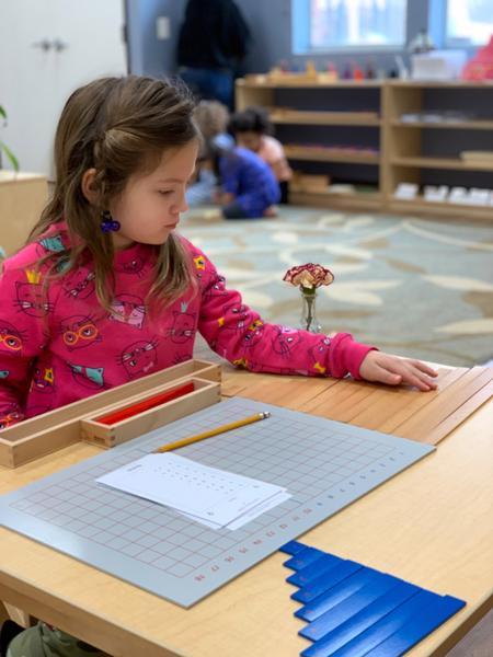 Mathematics work in Preschool Frisco TX Guidepost Montessori Private School